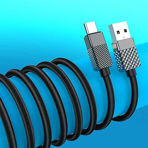 Lange USB Type-C kabel snellaadkabel, extra lange gevlochten 16 voet USB-A-naar-USB-C-laadkabel compatibel met Samsung Galaxy S10 S9 S8 S20 Plus A51 A11, Note 10 9 8, USB C-oplader