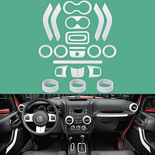 3pcs Steering Wheel Cover Trim Interior Accessories for Jeep Wrangler JL JLU 2018-2021(White)