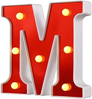 Samapet M Decorative Led Light Up Number Letters, Red Plastic Marquee Number Lights Sign Party Wedding Decor Battery Operated (M)