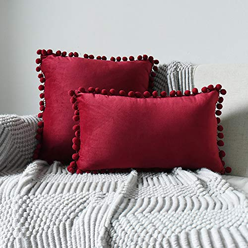 INMOZATA Cushion Pads with Cushion Cover 30 x 50cm Square Wine Red Cushion Inserts Soft Velvet Polyester Pillow Cushion Filler for Bed Chair Sofa, 1 Piece (12x20inch)