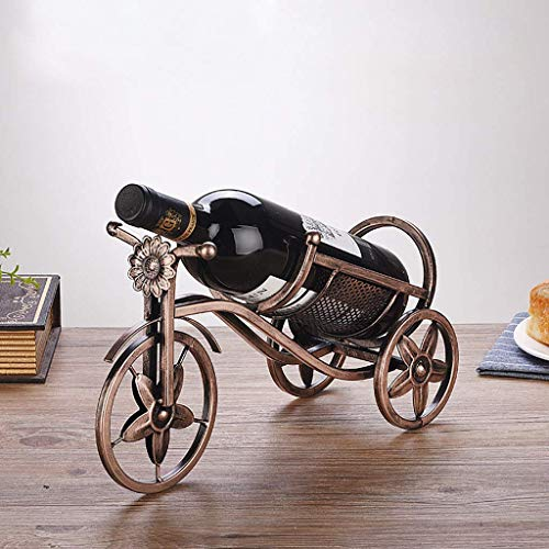 YLCJ Vintage metalen wijnrek Iron Bike Wine Bottle Holder Wine Countertop Tablet Stand Organizer Home Decoration (Kleur: B) Oro rosa + oro rosa