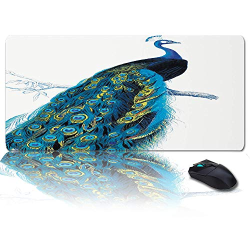 """Peacock Mouse Pad 35"""" x 15"""" Large Keyboard Mouse Pads for Desktops and Laptops, Writing Mat Gaming Desk Mat Accessories, Peacock Stand on Branch Wildlife Animals"""