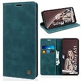 SOGUDE Handyhülle für Samsung Galaxy A51 4G Hülle, PU Leder Flip Tasche Klappbar Magnet Wallet Lederhülle, Silikon Schutzhülle Klapphülle Hülle mit Kartenfächer für Samsung Galaxy A51 4G, Blau