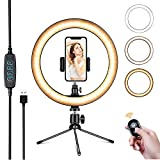 Powsure 10' LED Ring Light with Tripod Stand & Phone Holder for Selfie, Makeup,Live Streaming & YouTube Video, Dimmable Desk Ringlight Kit for Photography with 3 Light Modes&10 Brightness Level