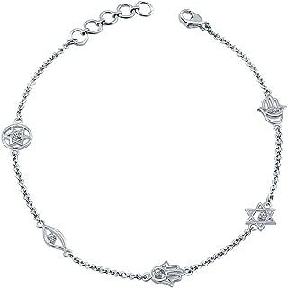La Joya 0.10ct (IJ I2-I3) Round White Diamond Sterling Silver Hamsa Evil Eye Jewish Star Charm Link Diamond Bolo Bracelet for Women