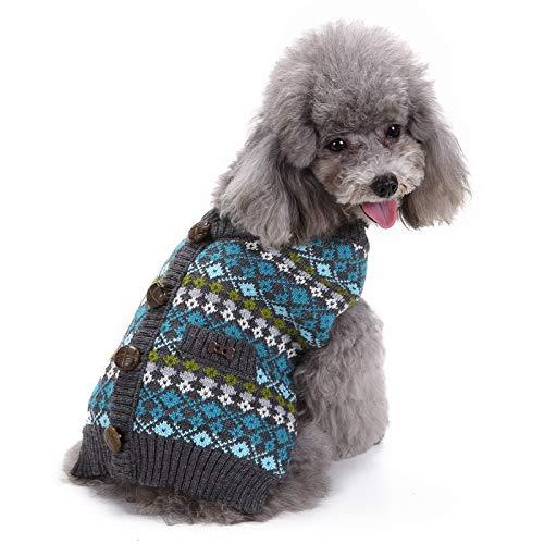 Springisso huisdier hond trui puppy kat herfst en winter kleding blauwe trui vest met knoppen kleding voor gouden retriever Teddy Corgi trui, L, Blauw