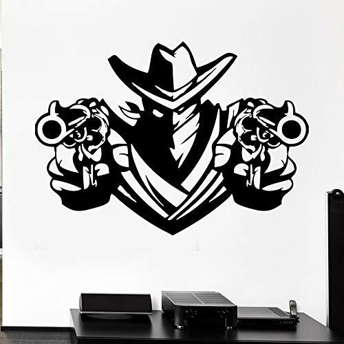 Tianpengyuanshuai Coole Art Wandtattoo Cowboy Räuber Revolver Waffe Waffe Schal Vinyl Wandaufkleber Dekoration 63X88cm