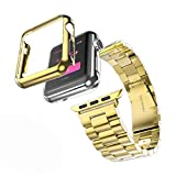 HUANLONG Compatible with Apple Watch Band, Solid Stainless Steel Metal Strap Band w/Adapter+Case Cover for Apple Watch iWatch 42mm (H Gold 42mm)