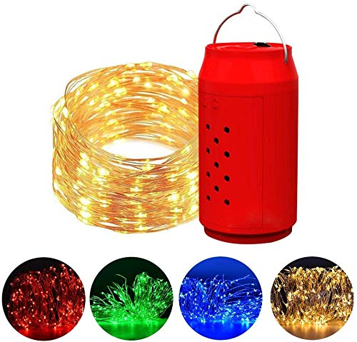 Brine Salt Water Powered String Fairy Lights Light Timing Outdoor Waterproof String Lights Four Colours Copper Wire Light for Party Bedroom Wedding Indoor/Outdoor
