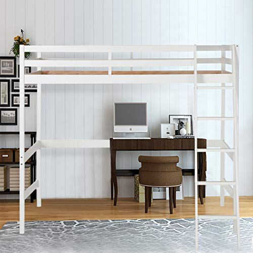 Warmiehomy High Sleeper Bunk Bed with Ladder and Safety Guardrail, Space Saver Solid Pine Wood Kids Loft Bed Frame