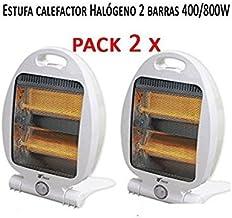 Suinga Pack 2 x Calefactor Estufa 2 Tubos de Cuarzo 400W-800W. Calefactor Calentador Radiador Halogeno Calor hogar