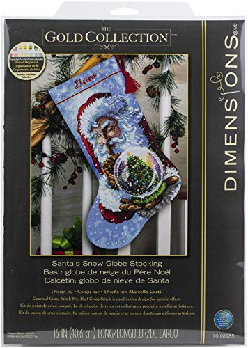 Dimensions 70-08985, 16' Long Gold Collection Santa's Snow Globe Counted Cross Stitch Christmas Stocking, 14 Gray Aida