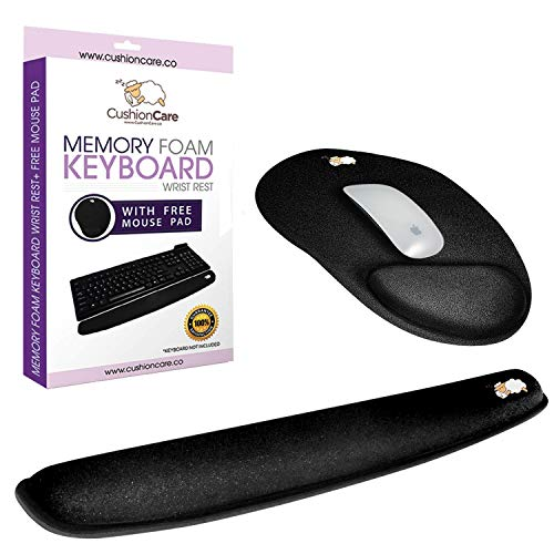 Keyboard Wrist Rest Pad - Full Ergonomic Mouse Pad with Wrist Support Gel Included for Set - Memory Foam Cushion - New Improved Shape - Prevent Carpal Tunnel RSI When Typing on Computer, Mac, Laptop
