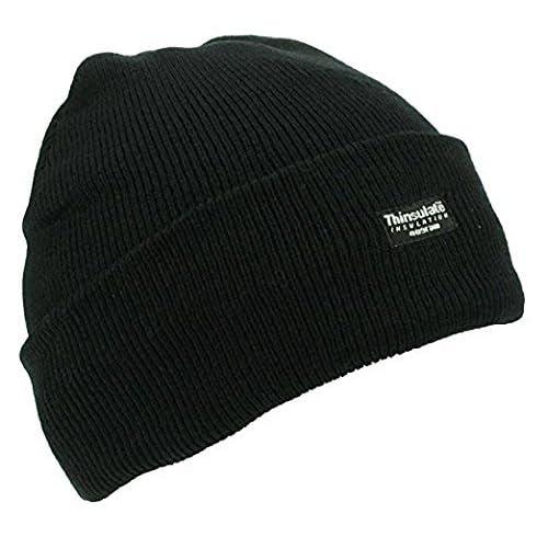 Thinsulate Men s Fleece Lined Woolly Winter Beanie Unisex Knitted Hat Black 45198278ed5