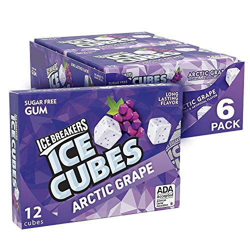ICE BREAKERS Ice Cubes Sugar Free Grape Gum, 12 Pieces (Pack of 6)