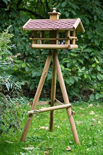 KUHEIGA Großes Futterhaus H: 150cm mit Schindel in rot oder schwarz Vogelhaus Futterstation Holz