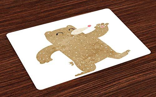 Set von 4 tanzenden Bären Platzsets, lächelnder Bär winkt seine Hand Grunge Cartoon Design Kinder, hitzebeständige waschbare Platzsets für Esstisch, Kamel Elfenbein