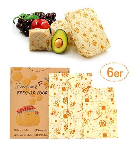FunYoung, set di 6 teli di cera d'api per alimenti, in tela cerata biologica, riutilizzabili, ottima alternativa alla pellicola di plastica (motivo floreale)