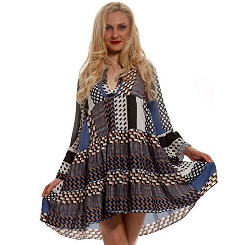 YC Fashion & Style Damen Tunika Kleid Retro Muster Boho Look Party-Kleid Freizeit-Minikleid oder Strandkleid HP219 Made in Italy (One Size,) (One Size, Mehrfarbig/Model 13)