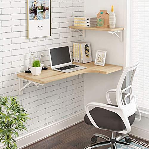 SHDS Mesa de Esquina Plegable para computadora Mesa de Madera montada en la Pared Escritorio de Estudio Mesa Auxiliar con Soporte Doble Escritorio con Caballete
