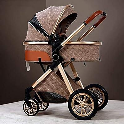 3 en 1 Cochecito de bebé de cuero real marco de aluminio alto paisaje plegable Kinderwagen Cochecito con regalos Baby Carriage caqui