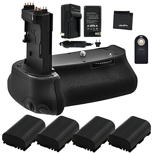 Battery Grip Bundle F/Canon EOS 6D: Includes BG-E13 Replacement Grip, 4-Pk LP-E6 / LP-E6N Long-Life Batteries, Charger, UltraPro Accessory Bundle