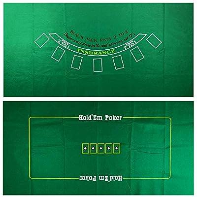 Yuanhe Blackjack and Texas Holdem 2-Sided Casino Table Felt Layout