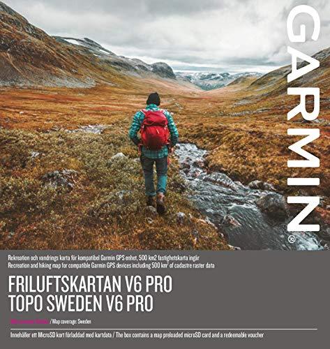 Garmin Karten Topo V6 Pro mit Birdseye Select Prime – Topographische Vektorkarte für Schweden mit Active Routing Funktion und Points of Interests Topografische, Schwarz, M