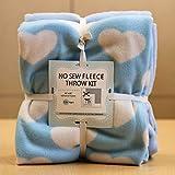 Hearts on Blue No-Sew Throw Fleece Fabric Kit (50x60)
