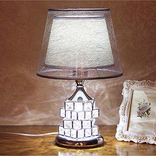 XINYE Moderne LED Lampe de table Cristal Cube Base Lampe de chevet avec 2 Bouton de commutation, Silver