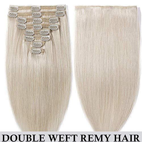Clip in extensions echthaar Doppelt Tressen 100% Remy Echthaar 8 teiliges set Haarverlängerung dick (60cm-170g,#70 Weiß bleichen)