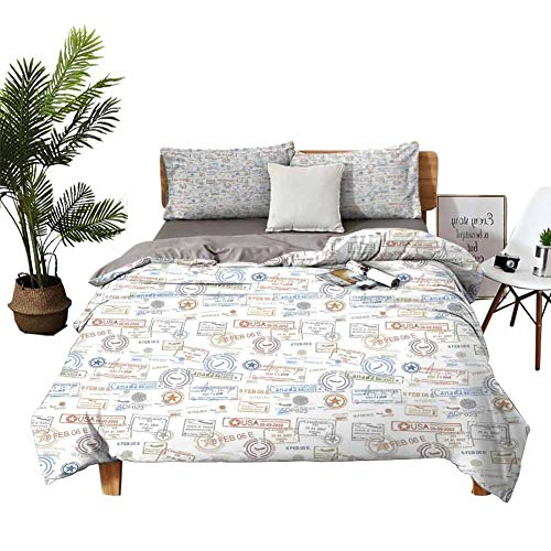 DRAGON VINES 4pcs Bedding Set Silk Sheets Sheets Full Set Vintage Old Rubber Stamps Tourist Passport Visa Certificate Vacation Holiday Theme Multicolor Blue Bed Sheet W104 xL90
