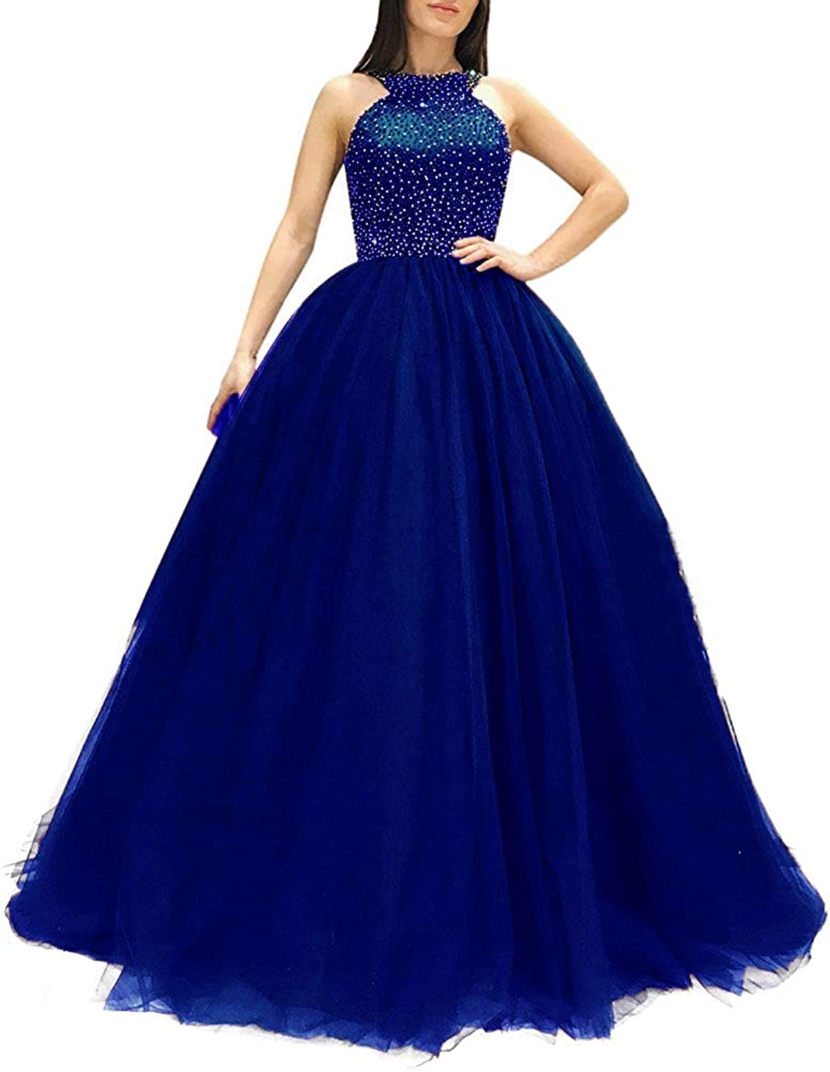 WIYMSHZ Bonnie Women's Halter Beaded top Prom Dresses Long Sexy Open Back Eveing Party Dress BS058