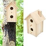CUTULAMO Décorations de Jardin, cabane à Oiseaux en Bois en Bois Naturel Bricolage Fonctionne Pratique pour Le Jardin pour la Maison