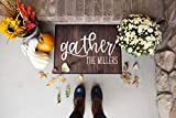 Outdoor Fall Decor Outside Door Mat (Medium Size 24' x 18', Gather Design), Personalized Designs Available - Holiday Doormat Decoration