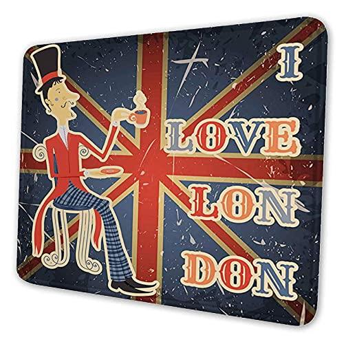 Quadratisches Design-Mauspad, rutschfeste Gummi-Bürozubehör-Schreibtischdekoration, ich liebe London-Zitat Englischer Mann trinkt Tee auf britischer Flagge Niedliches Design-Schreibtischzubehör. Rutsc