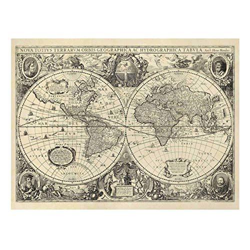Bilderwelten Cuadro en Lienzo - Vintage World Map Antique Illustration - 30 x 40cm - Canvas