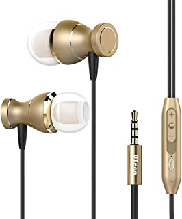 (Renewed) PTron Magg Headphone Magnetic Earphone with Noise Cancellation in-Ear Wired Headset with Mic (Gold)