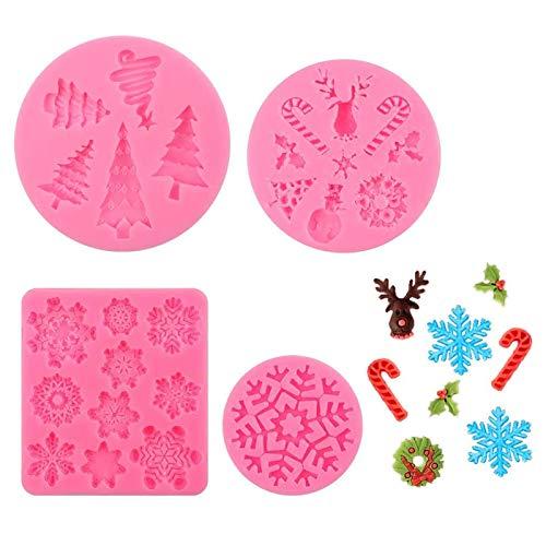 yyuezhi 4 Stück Weihnachts Fondant Formen Schneeflocke Weihnachts Schokolade Süßigkeiten Form 3D Backform Kuchen Dekorieren Werkzeuge DIY Zucker Basteln Süßigkeiten Schokolade Fondant Silicone Molds