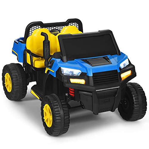 Costzon 2-Seater Ride on Truck, 12V Battery Powered Electric Vehicle w/ 2 Motors, 2.4G Remote Control, LED Lights, Horn, Music, Bluetooth, Storage Toolbox, Kids Ride On Car for 3 Years Old (Blue)