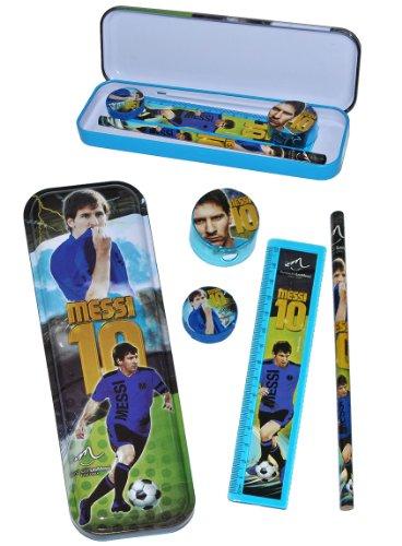 alles-meine.de GmbH 5 TLG. Schreibset - Lionel Leo Messi Fußballer - Bleistift + Radierer + Spitzer + Lineal + Stiftebox aus Metall - für Stifte Stift Fußballer Sport Nr. 10 Stif..