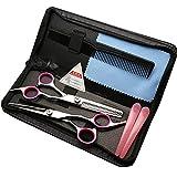 XYY Conjunto de Tijeras de peluquería de Acero Inoxidable 6.0'de precisión. Peluquería de peluquería,Rosado