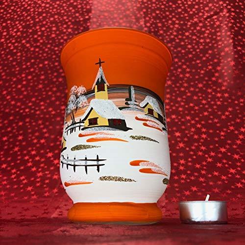 Generisch Windlicht Hurricane Maxi Leuchtglas Glas Becher Handarbeit Glaskunst Lauscha, Orange