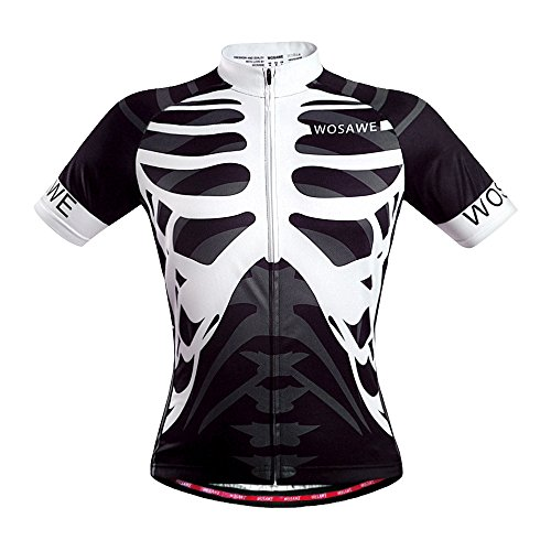 WOSAWE Mens Breathable Cycling Jersey Short Sleeves (Skeleton, XL)