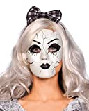 Horror-Shop Gesprungene Porzellan Puppenmaske als Kostümaccessoire für Halloween und Fasching