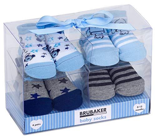 Brubaker 4 Paar Baby Jungen Socken 0-12 Monate - Raketen & Sterne