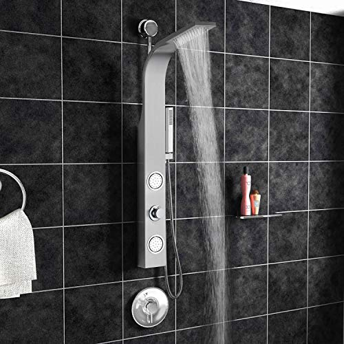 """Blue Ocean 44"""" Stainless Steel SPS88213 Retro-fit Shower Panel with Rainfall Shower Head, Body Nozzles, and Handheld Shower Head"""