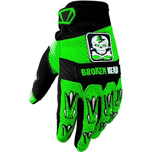 Broken Head MX-Handschuhe Faustschlag - Motorrad-Handschuhe Für Motocross, Enduro, Mountainbike - Grün - Größe XXL