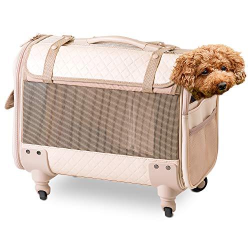 【OFT】 ブロッサムリュックキャリー パールベージュ M 犬 小型犬 中型犬 多頭飼い キャスター 取り外し 手持ち ショルダー リュック メッシュ 耐荷重 10kg