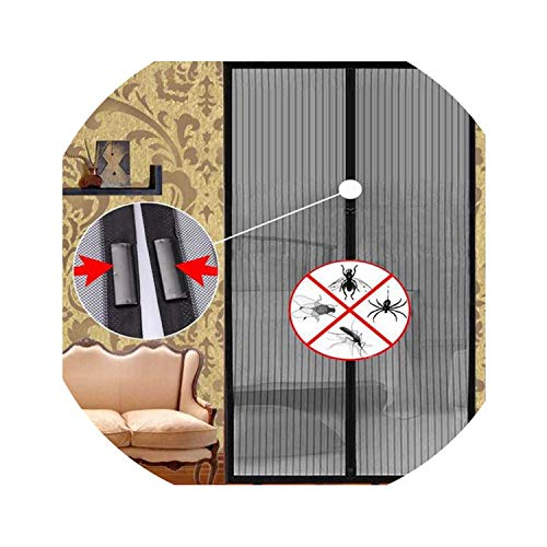 Love Me More-bed-frame-draperies Summer Anti Mosquito Insect Fly Bug Mesh Net Automatic Closing Door Screen Kitchen Curtain,Black,100 x 210cm